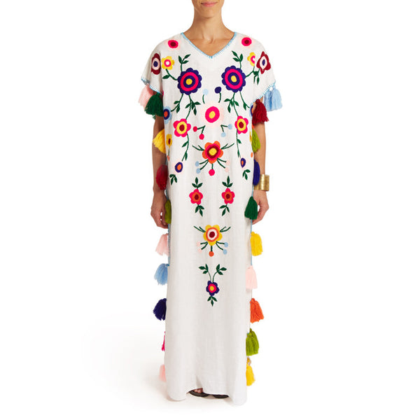 White Floral  Caftan with Pompoms Long I