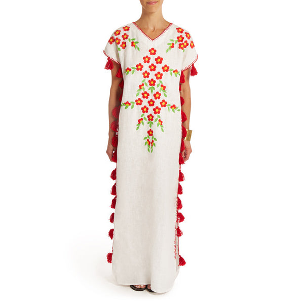 White Linen Red Floral Long  Caftan with Pompoms