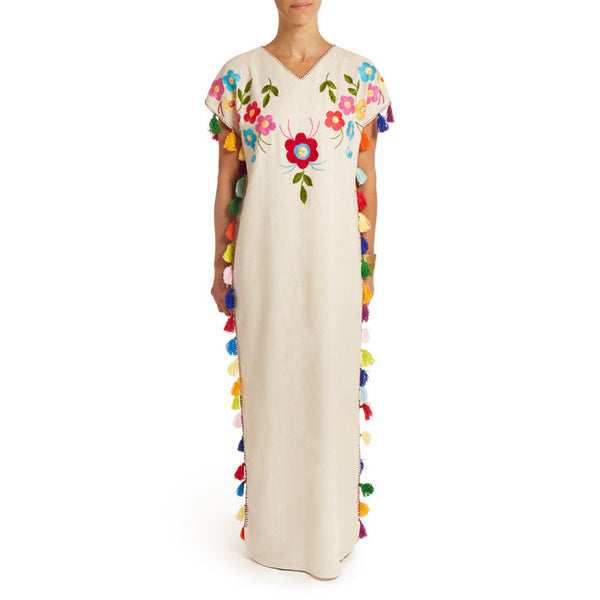 White Floral Caftan with Pompoms Long III