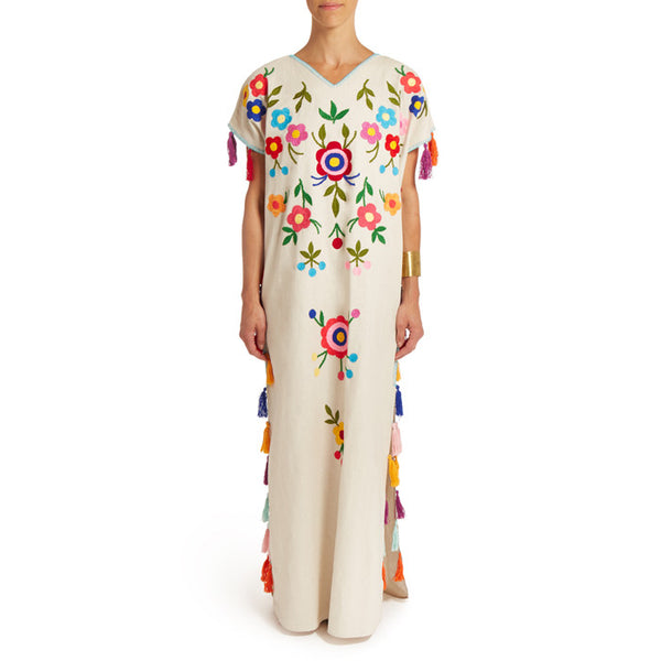 White Floral  Caftan with Pompoms Long II