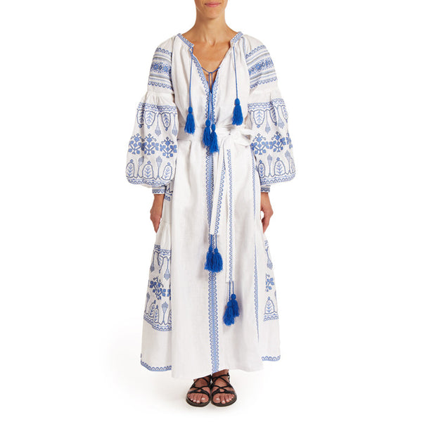 White and Blue Embroidered Long Bohemian Dress