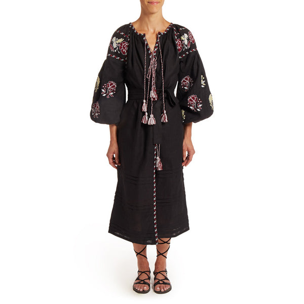 Long Black Embroidered Bohemian Dress