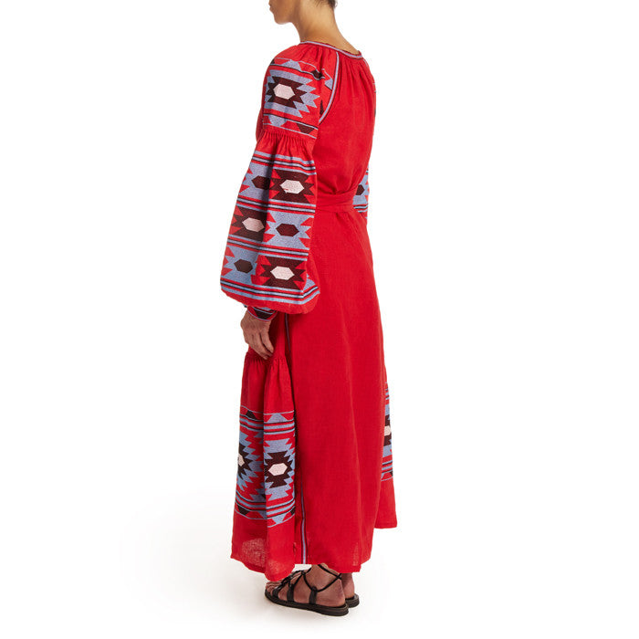 Long Red Embroidered Bohemian Dress