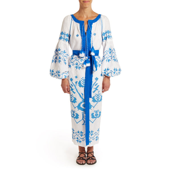 Long White & Blue Embroidered Dress