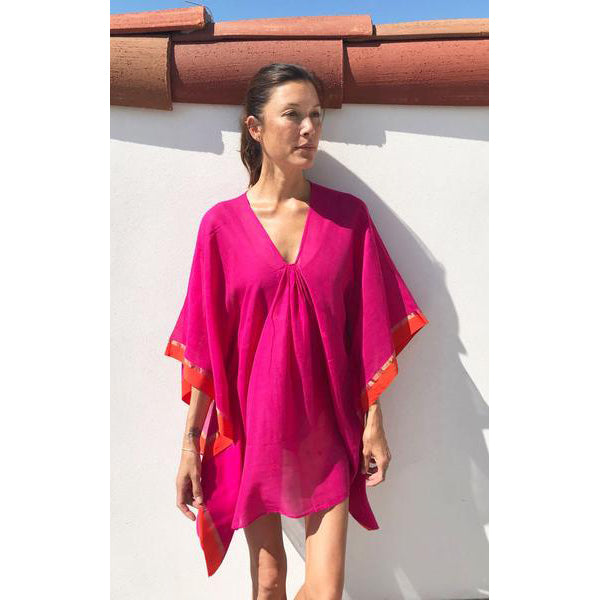 Short Hot Pink Cotton Caftan