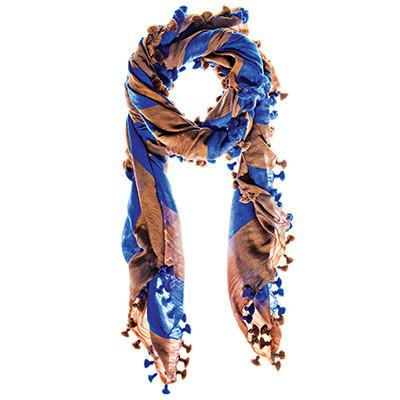 Toffee and Dazzling Blue Silk Wool Check Scarf & Sarong