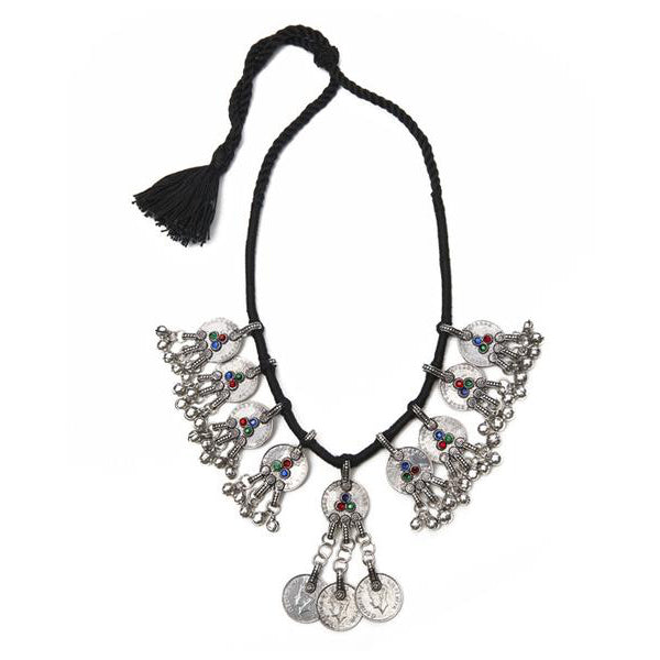 Silver Base Metal and Thread Tribal Middle Tassel Necklace