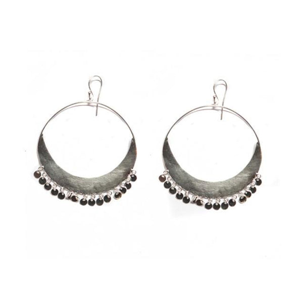 Silver Hanging Circles Hoop Earrings