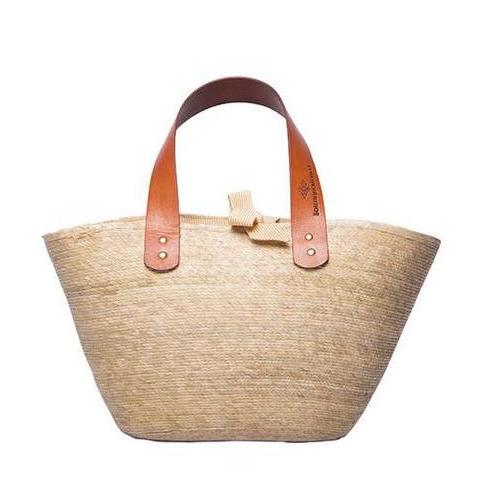 Small Ibiza Palm Tote with Yellow Lining