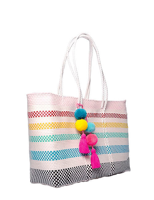 White Stella Large Long Handle Tote