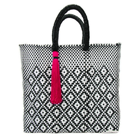 Black and White Lined Medium Short Handle Tote