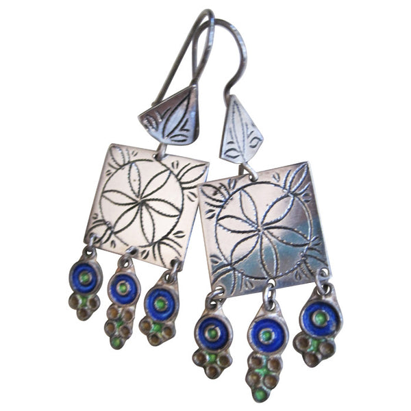 Sterling Silver and Enamel Morocco Dangle Earrings