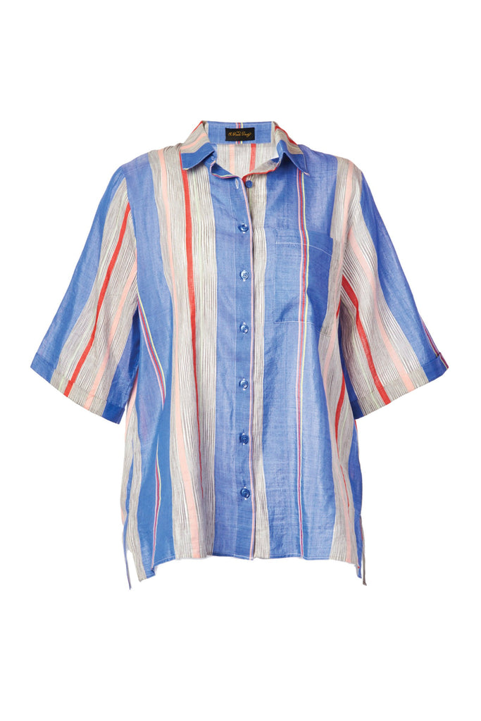Tarouba Blue Cotton & Silk Button Down