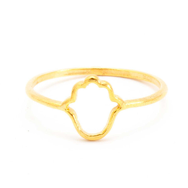 TIKLARI, Gold Hand of Fatima Ring
