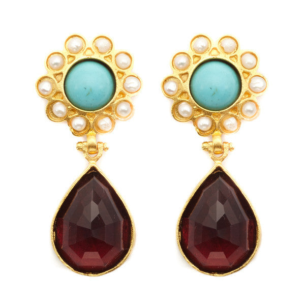 DEACTIVATED FOR API Gold, Turquoise, Pearl, and Crystal Jawa Earrings