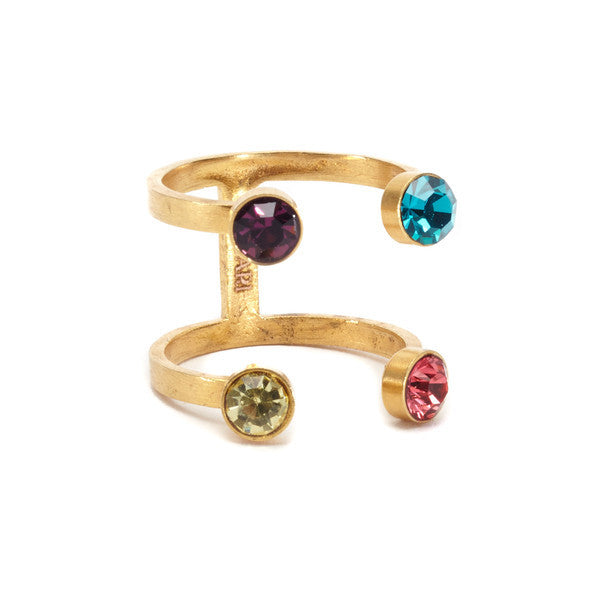 DEACTIVATED FOR API Multi Colored Gold Minnah Ring