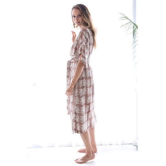 Tan Cotton Krabi Block Print Wrap Dress