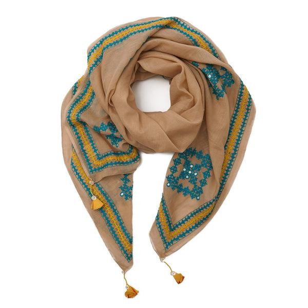 Tan Cotton Turquoise Embellished Sindh Scarf