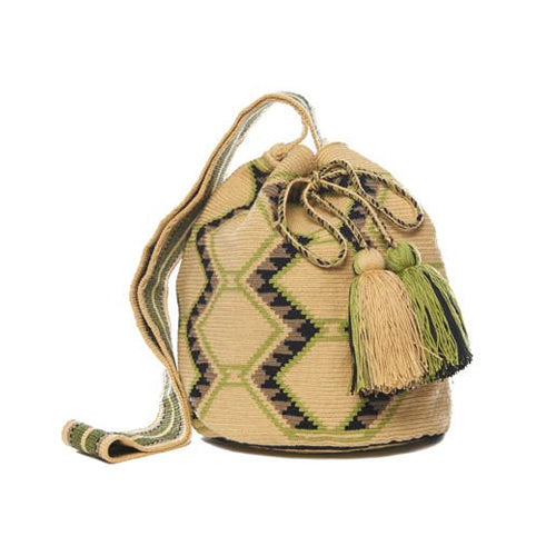 Tan Green and Black Cotton Cartagena Mochila Bag