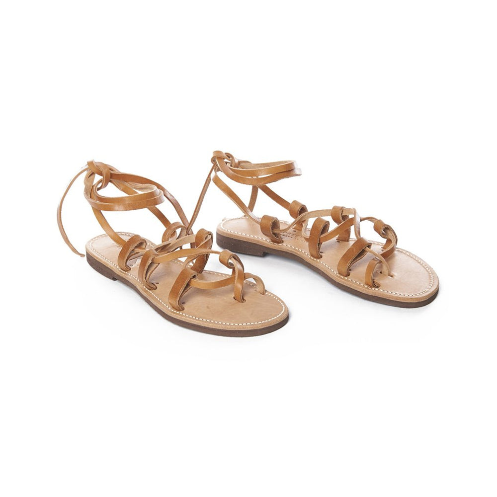 Tan Leather Ancient Snake Tie Sandal