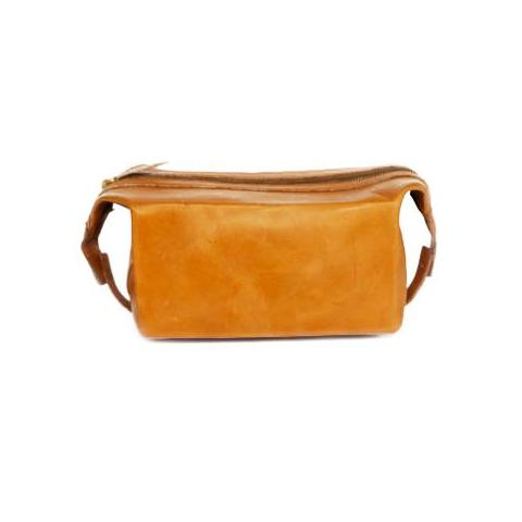 Tan Leather Washbag