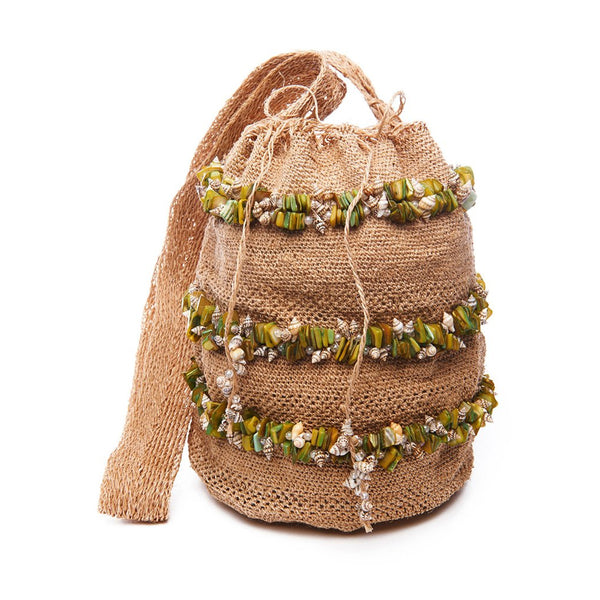 Tan Raffia Green Shell Stripe Bag