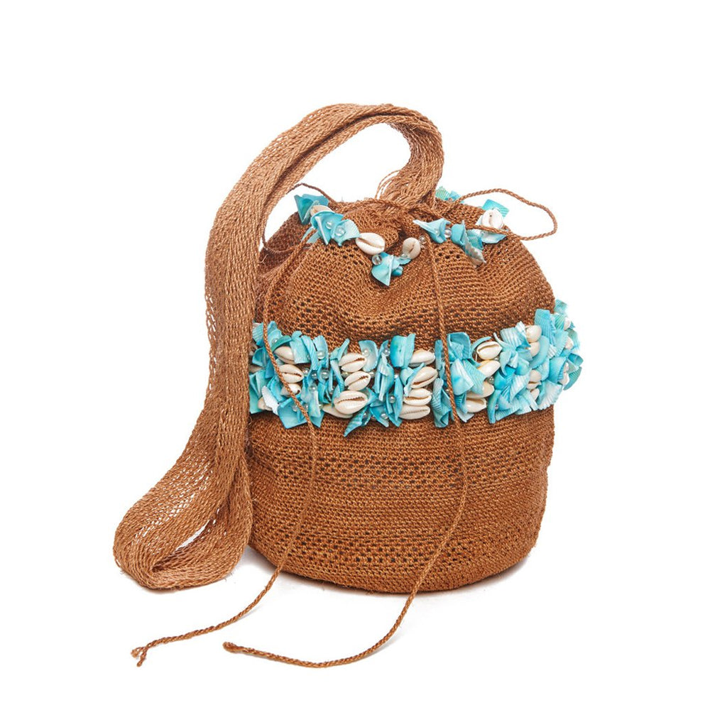 Tan and Sky Blue Shell Raffia Mochila Bag