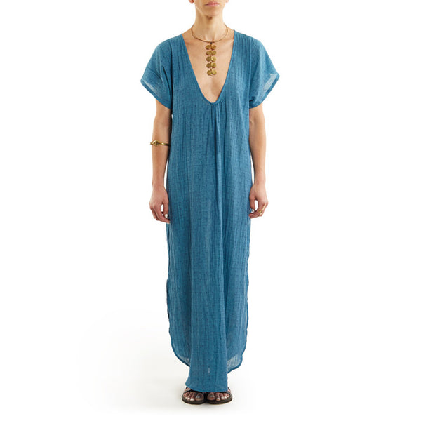 Teal Cotton Rustic Caftan