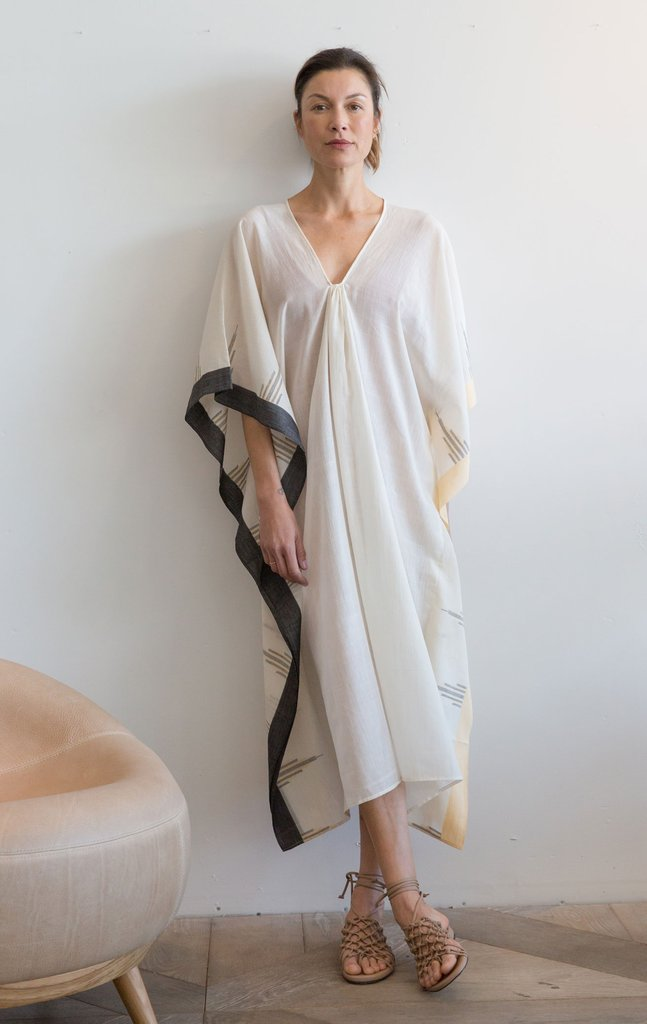 Temple Cotton Caftan with Peach Border