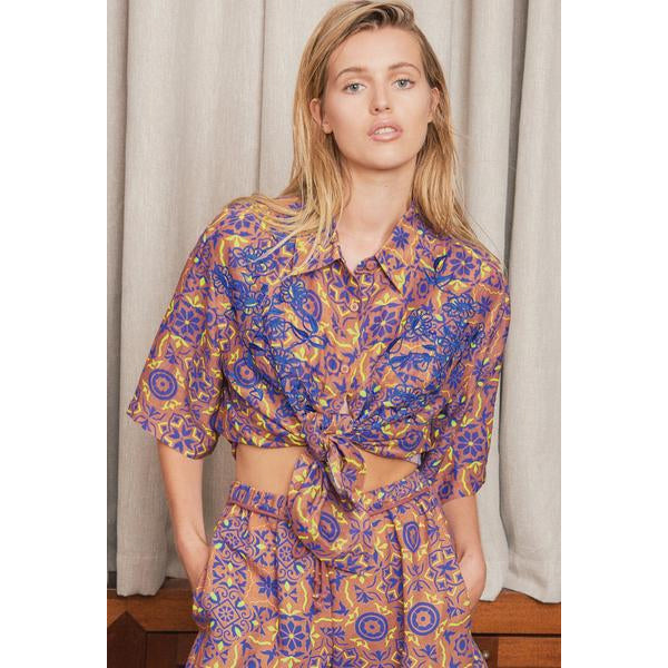 Terracotta Aveiro Silk & Linen Button Down Top