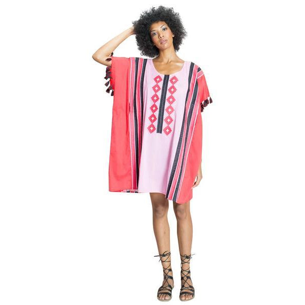 Ava Geo Embroidered Cotton Caftan