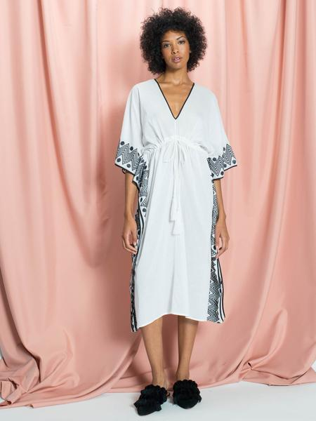 The Daphne Black Border Cotton Caftan in White