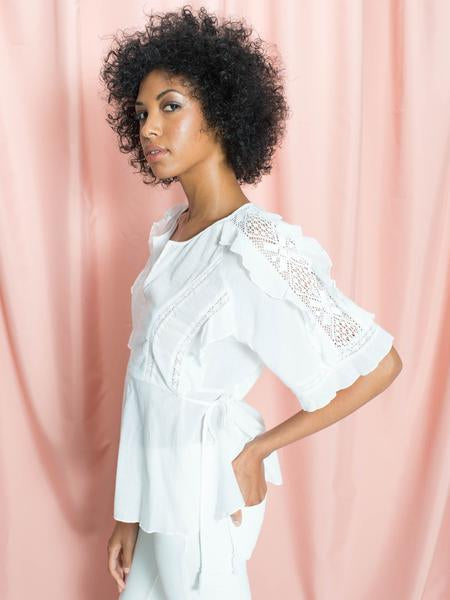 Lou Ruffle and Lace Cotton Kimono Top