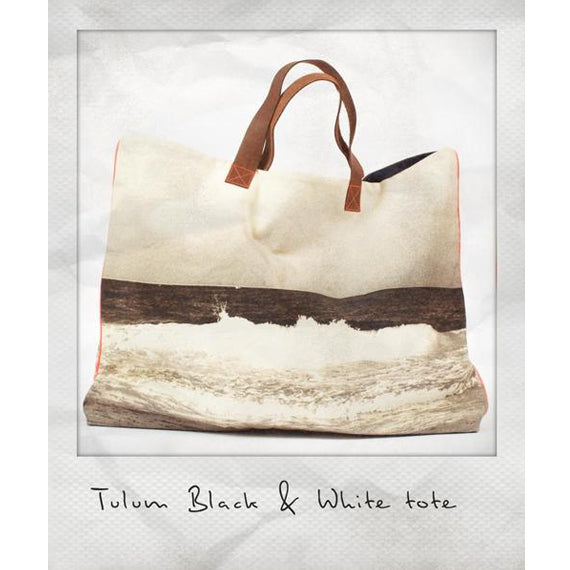 Tulum Black & White Wave Canvas Tote