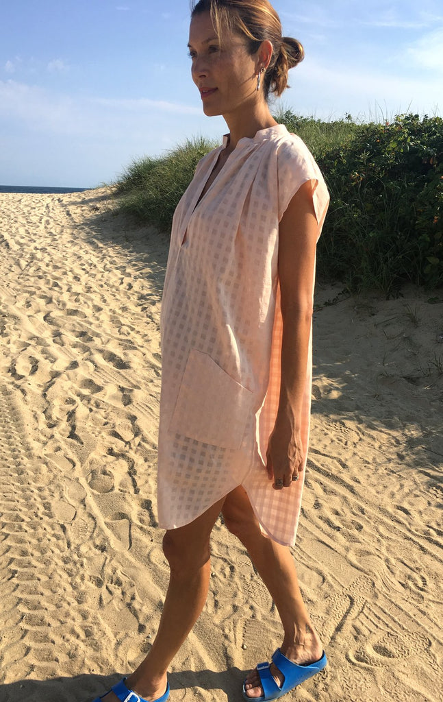 Petal Pink Grid Cotton Tunic