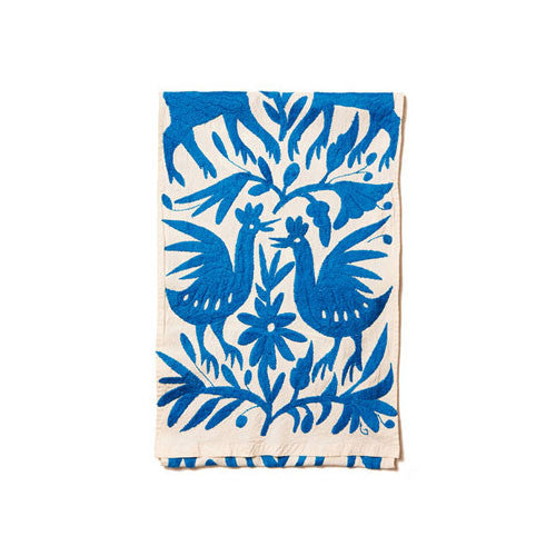 Blue Cotton Otomi Tenango Table Runner