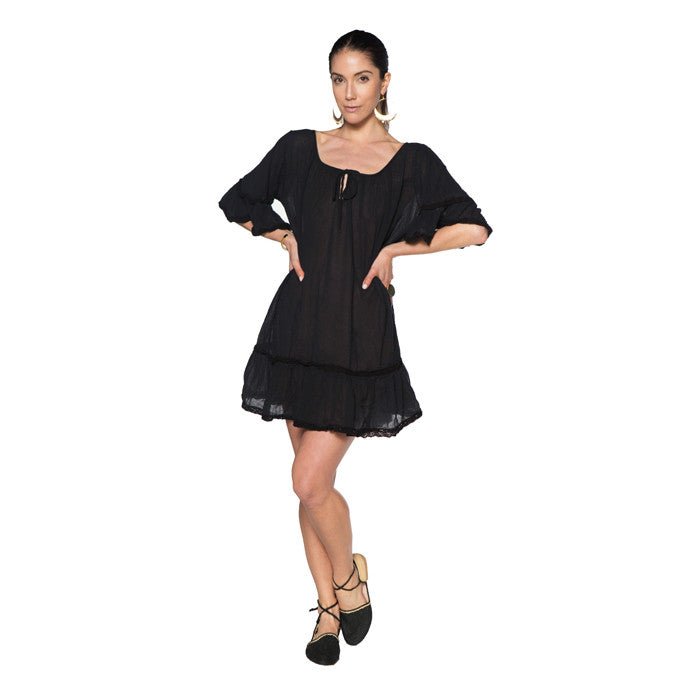 Black Cotton Gauze Cala Dress
