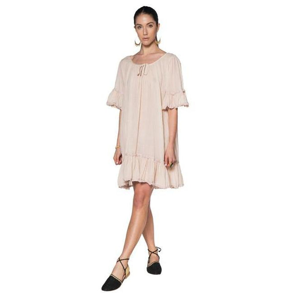 Beige Cotton Gauze Cala Dress