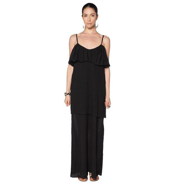 Black Cotton Gauze Corfu Dress