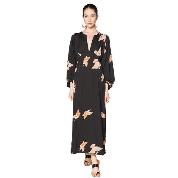 Black Patterned Cranes Daisy Dress