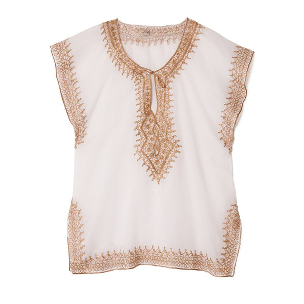 White & Gold Cotton Top