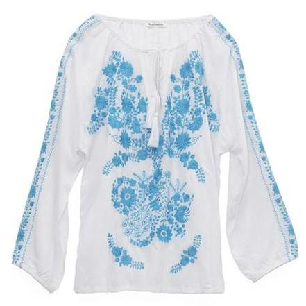 White & Blue Mexican Embroidered Blouse