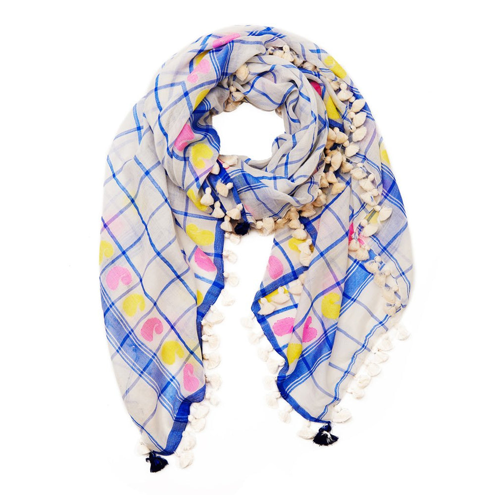 White Blue Paisley Cotton Scarf