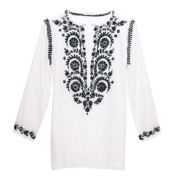 White Cotton Indian Embroidered Tunic
