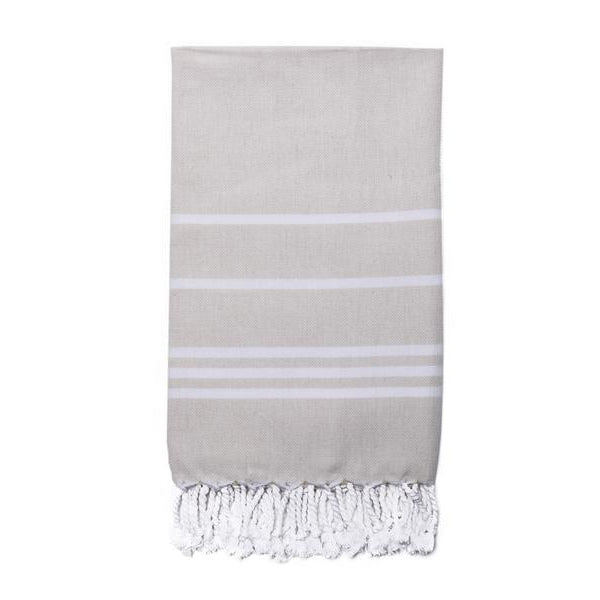 White Cotton Stripe on Beige Turkish Peshtemal Towel