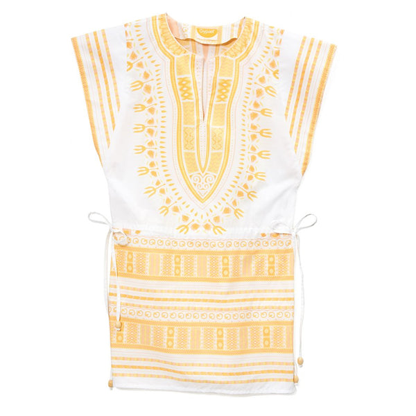 White Cotton Yellow Embroidered Greek Dashiki Drawstring Mini Dress