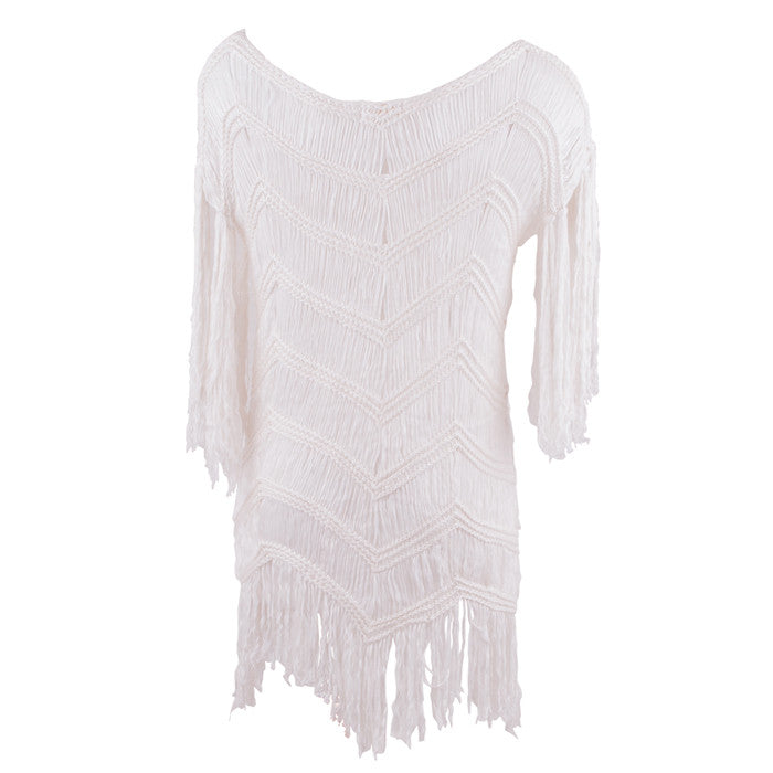 White Flores Fringed Dress
