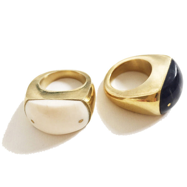 Black Large Brass and Bone Ring