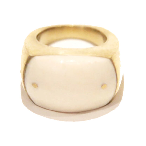 White Large Brass and Bone Ring