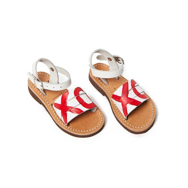 White Leather Storge Painted Kids Sandal